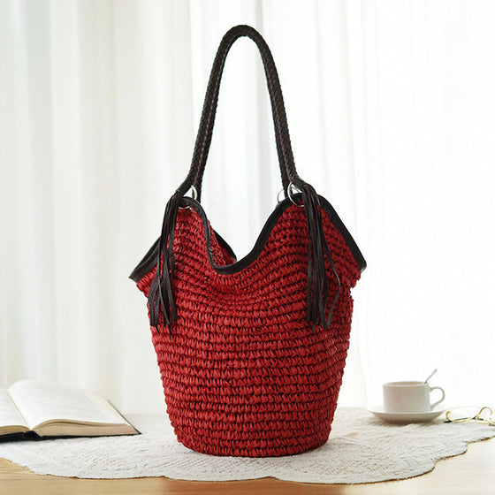 Abena Straw Women Beach Bag - red boho