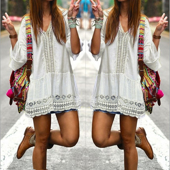 50% OFF! Bohemian Style Summer Dress - white boho sexy mini dress