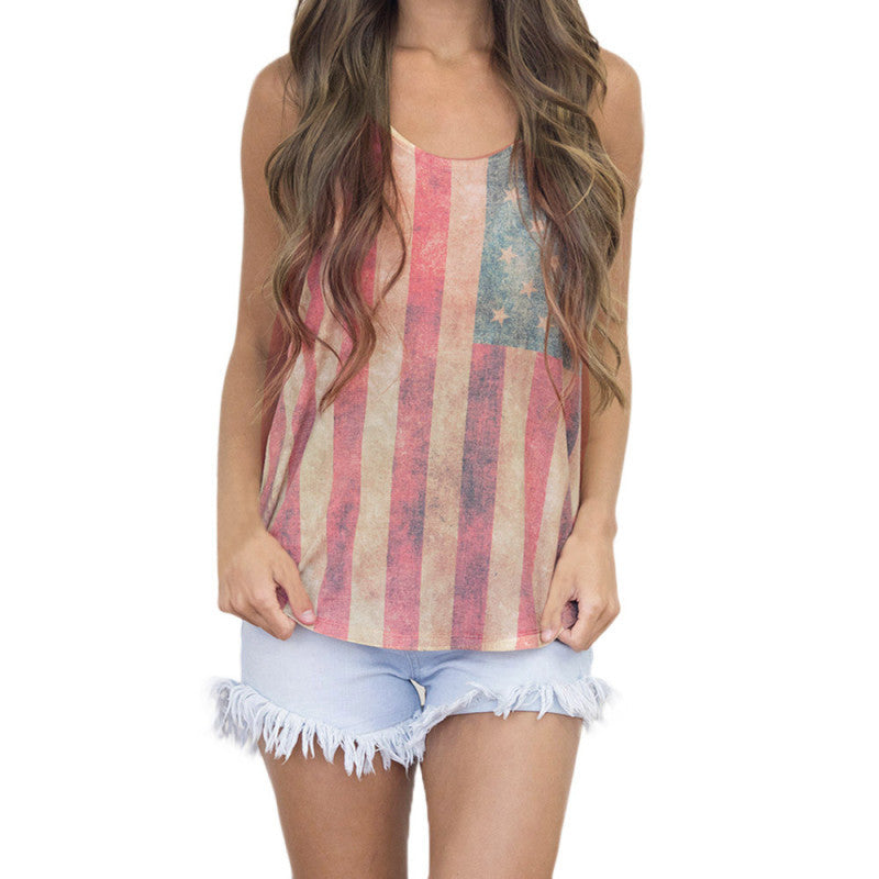 American Flag Sexy Sleeveless