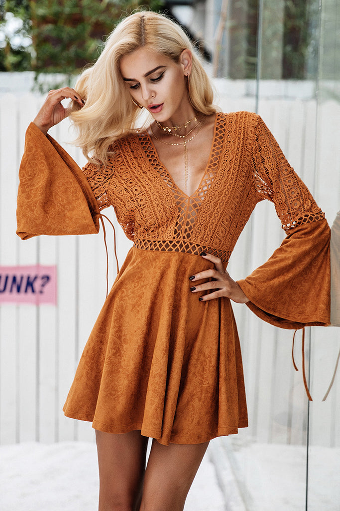 Brown Burst Dress