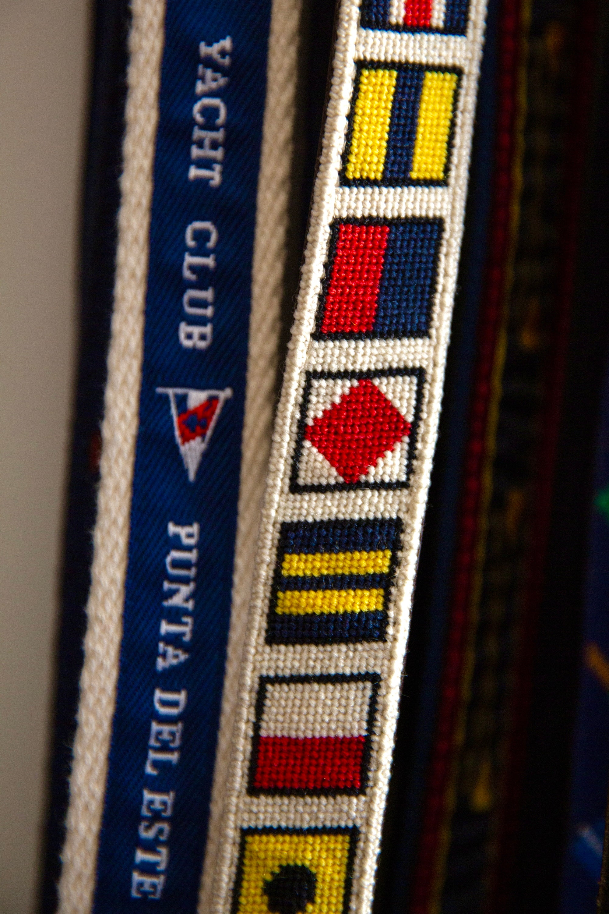 Close-up of a few different belts