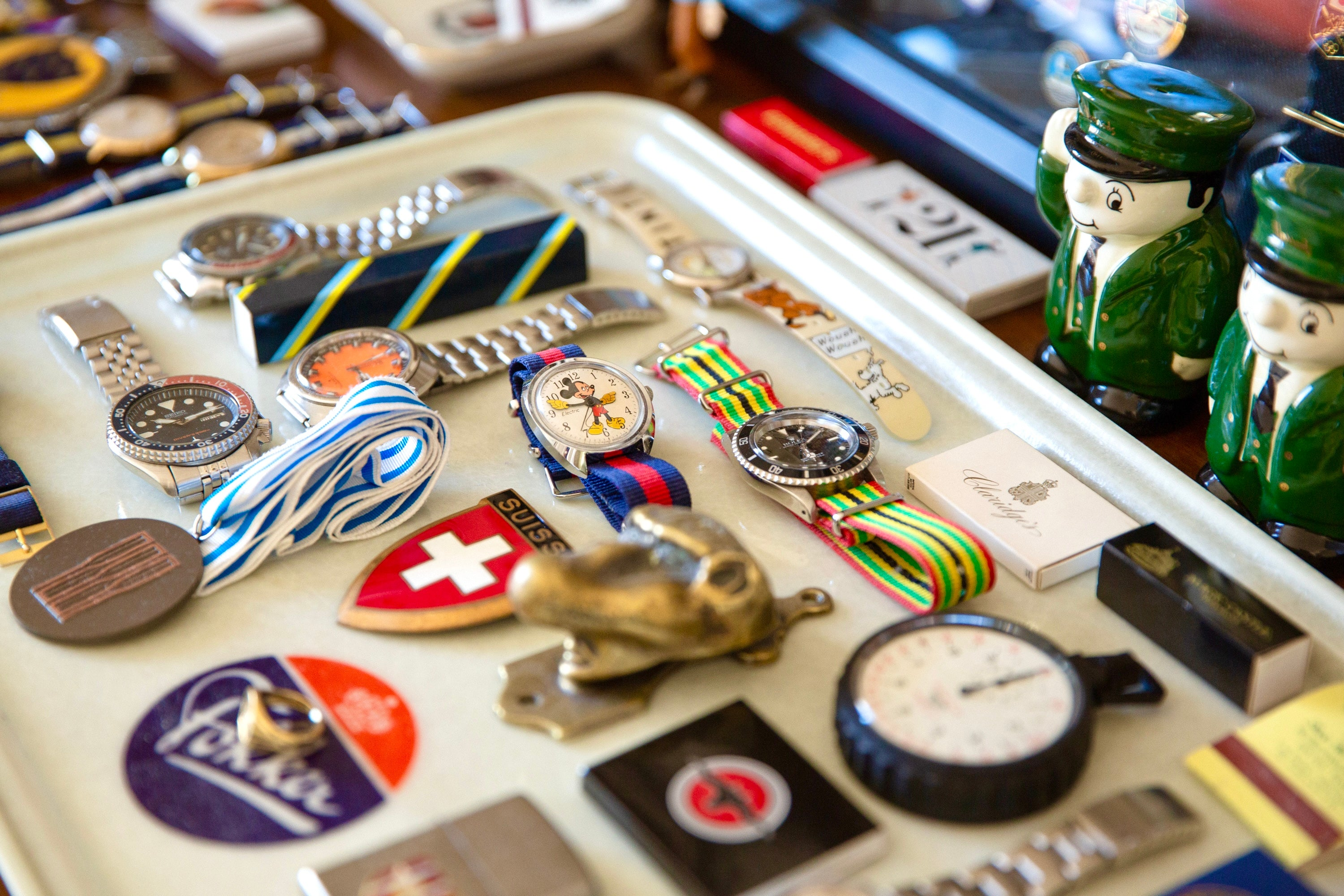 Close-up of some watches and medals
