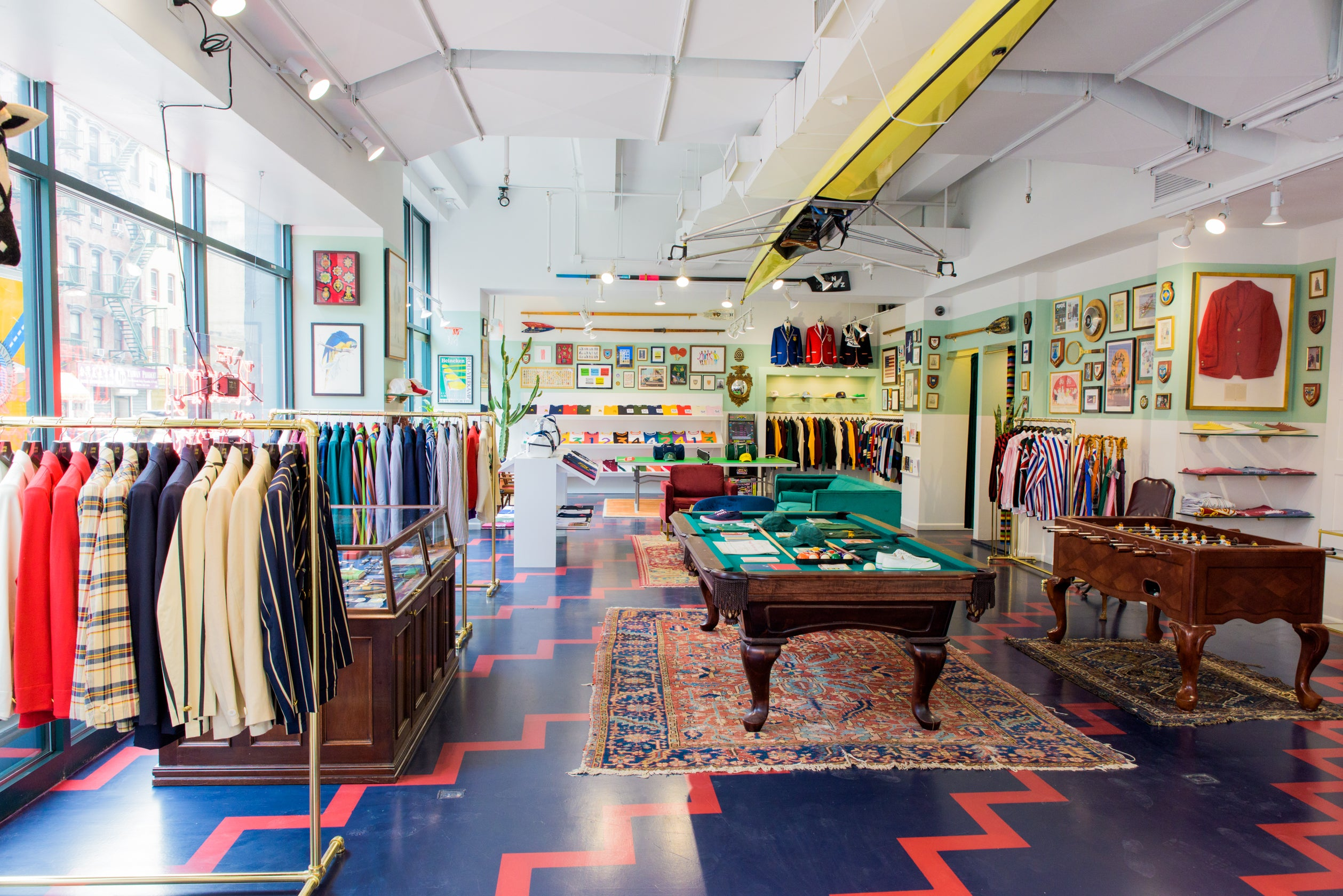 Photo of the inside of the Rowing Blazers Store on Grand Street