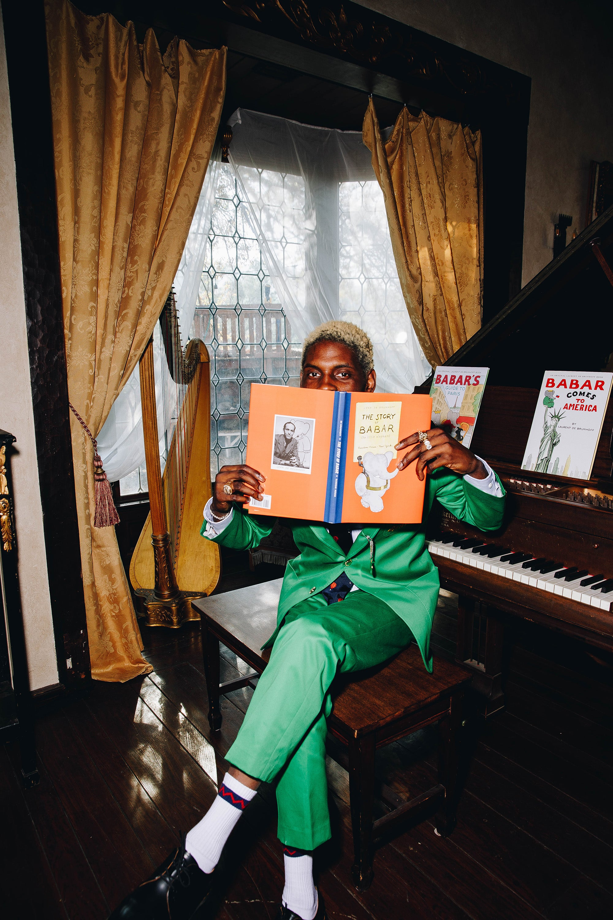 A$AP Nast wearing the Babar Jacket in Trousers in green