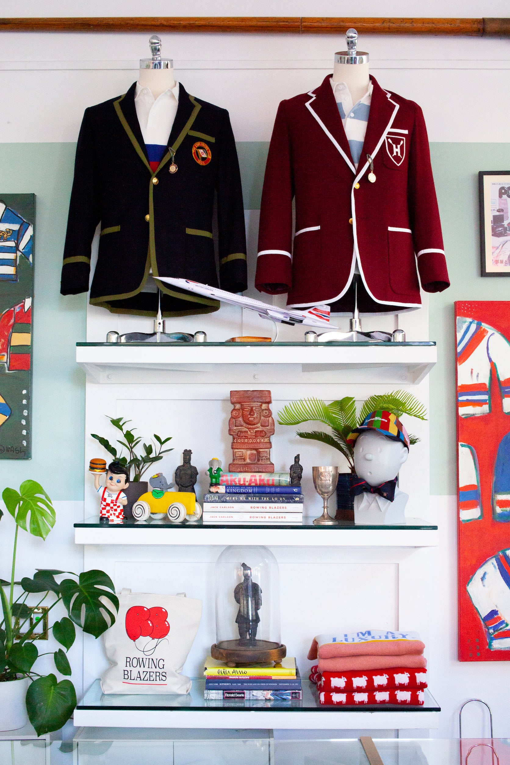Close-up of 2 blazers inside of the Rowing Blazers Store on Grand Street