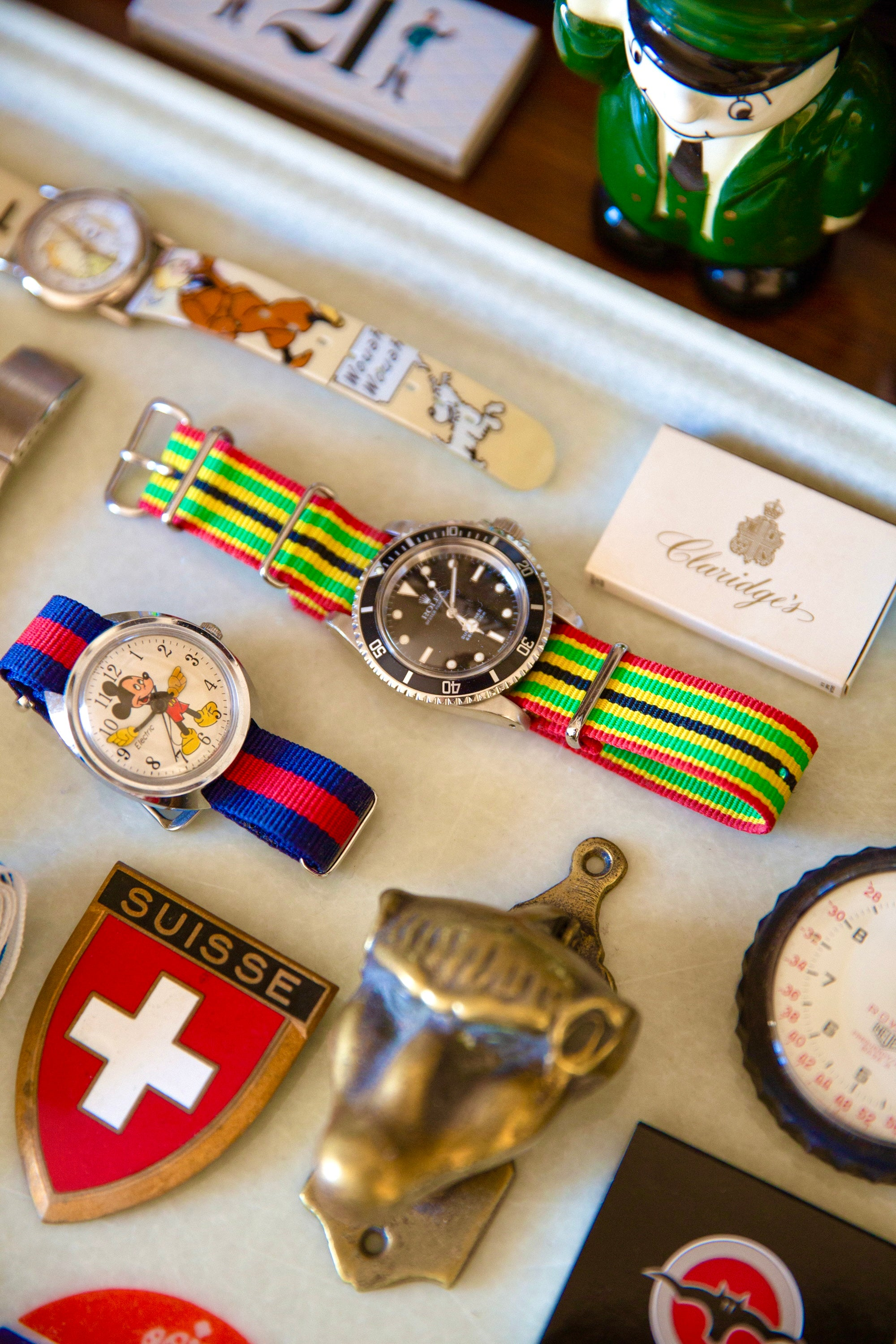 Close-up of various watches and patches