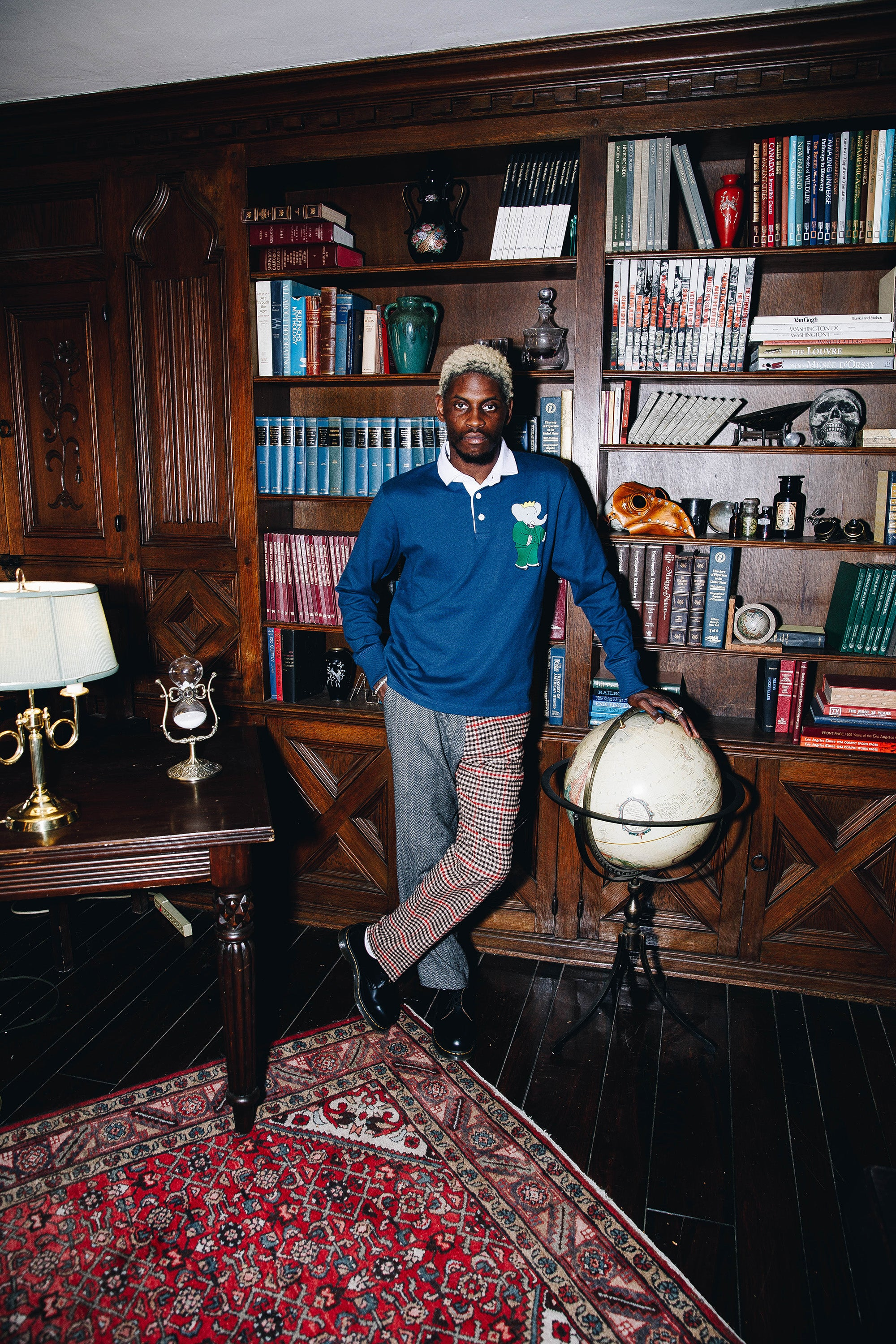 A$AP Nast wearing the Babar Rugby and the Split Tweed Trousers