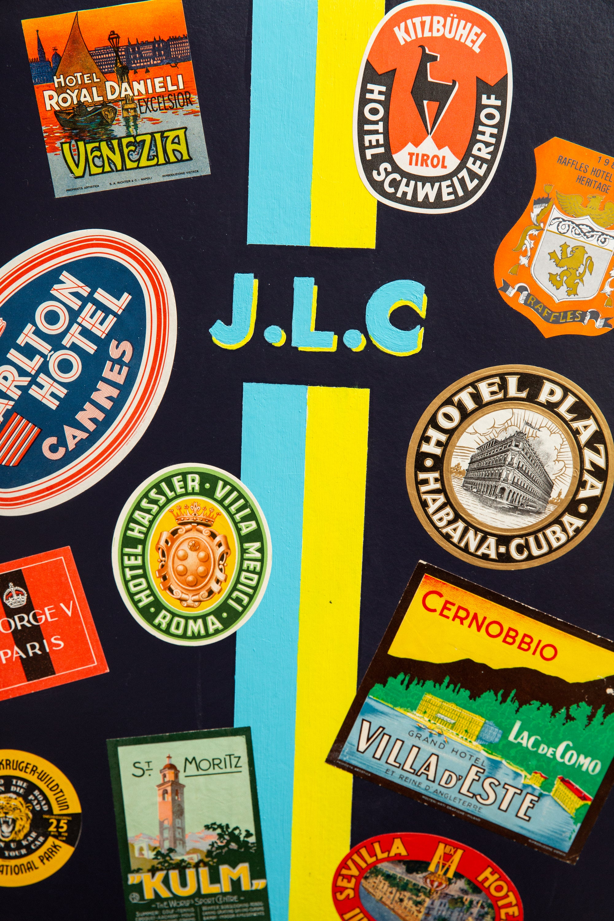 Close-up of various stickers
