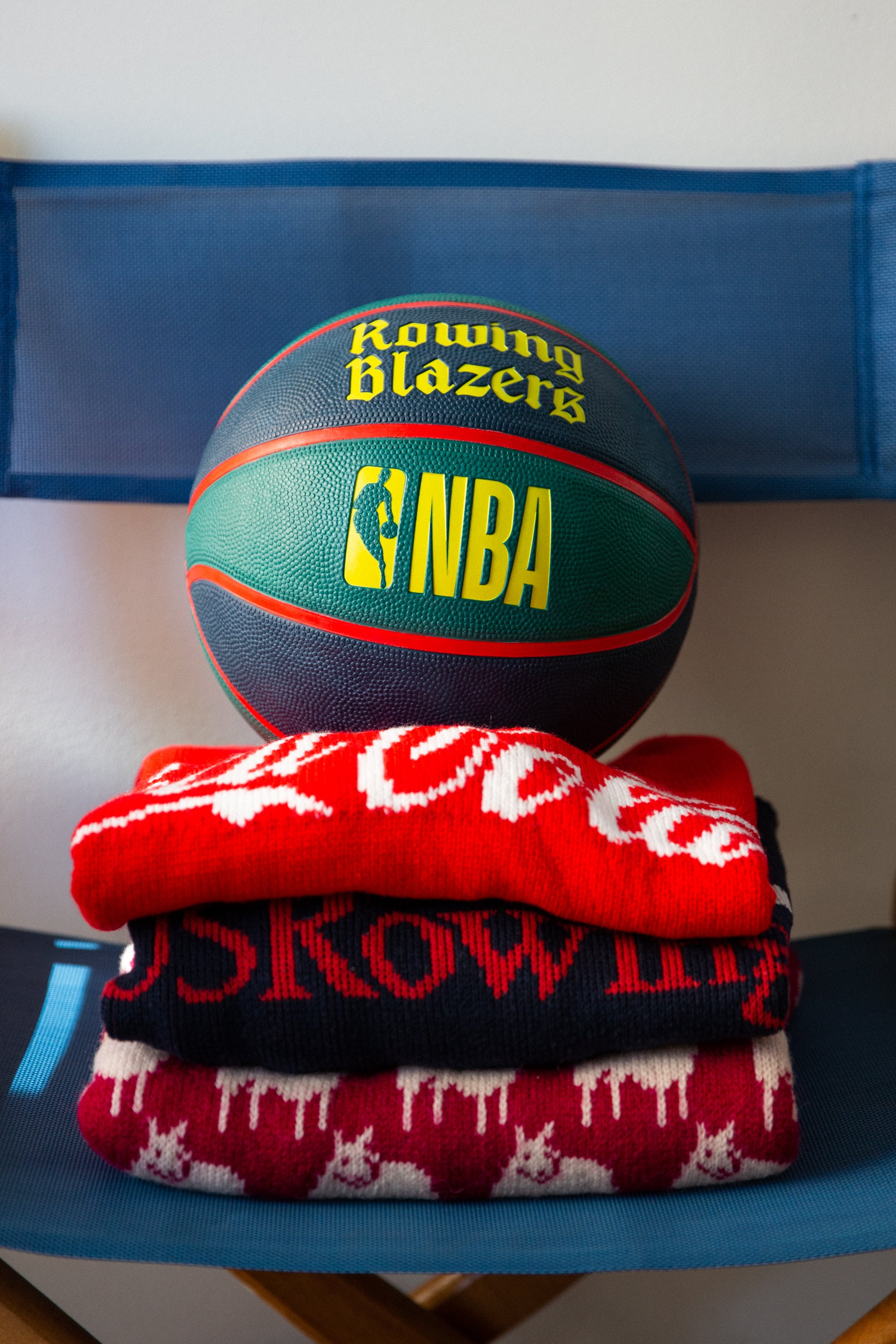 Close-up of the Rowing Blazers X NBA Basketball
