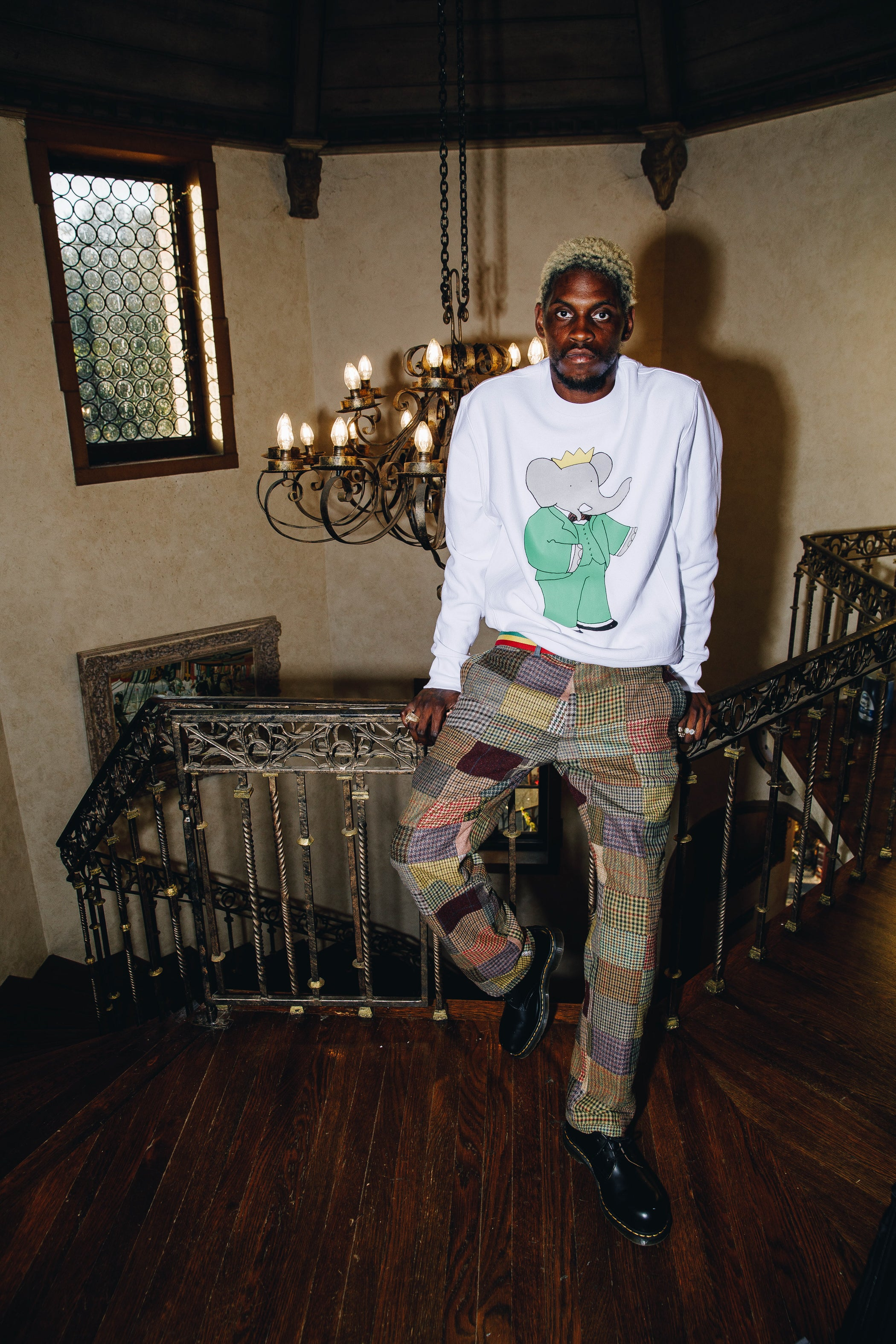 A$AP Nast wearing the Babar Crewneck and Patchwork Tweed Trousers
