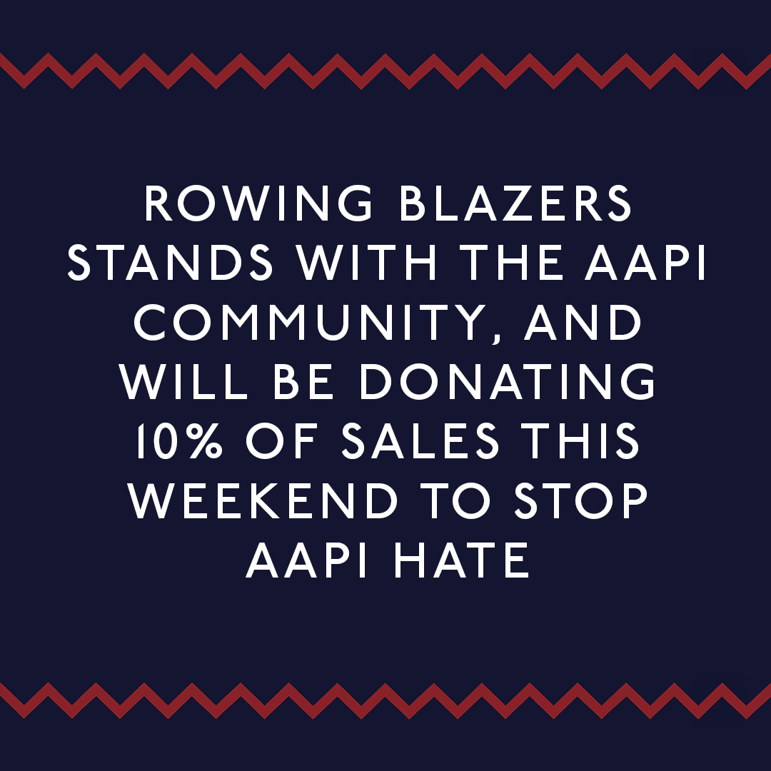 Text describing how Rowing Blazers will be donating 10% of sales to AAPI this weekend
