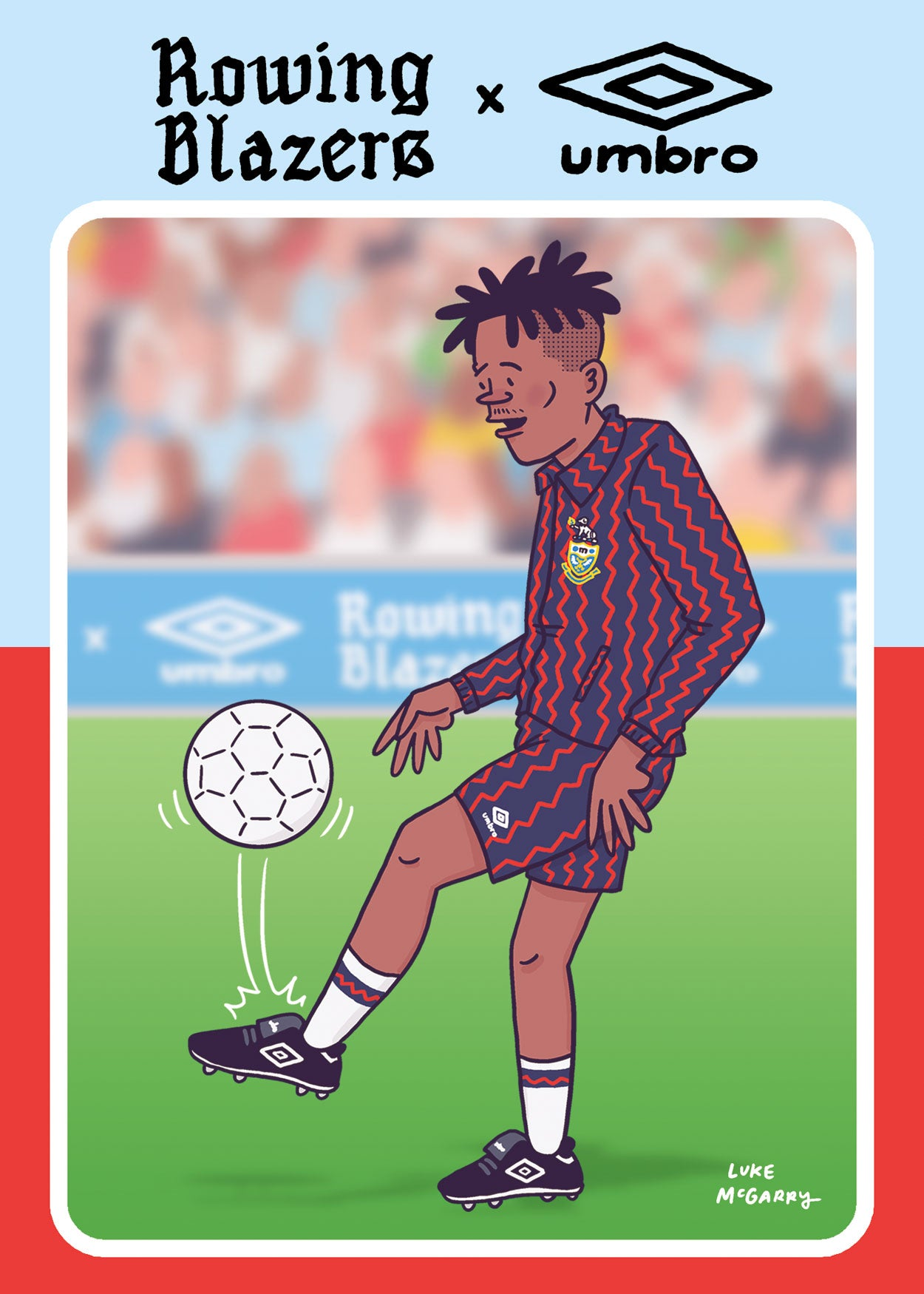 Cartoon of a man wearing the Rowing Blazers Red and Navy Zig-Zag Coach's Jacket and the Red and Navy Zig-Zag Soccer Shorts