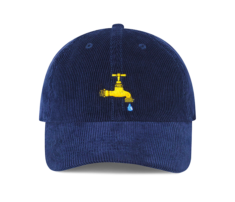 Navy corduroy hat with a motif of a faucet dripping on the front.