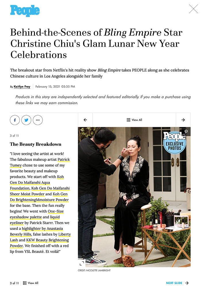 Behind-the-Scenes of Bling Empire Star Christine Chiu's Glam Lunar New Year Celebrations The breakout star from Netflix's hit reality show Bling Empire takes PEOPLE along as she celebrates Chinese culture in Los Angeles alongside her family  By Kaitlyn Frey February 15, 2021 05:35 PM Products in this story are independently selected and featured editorially. If you make a purchase using these links we may earn commission. SKIP GALLERY SLIDES