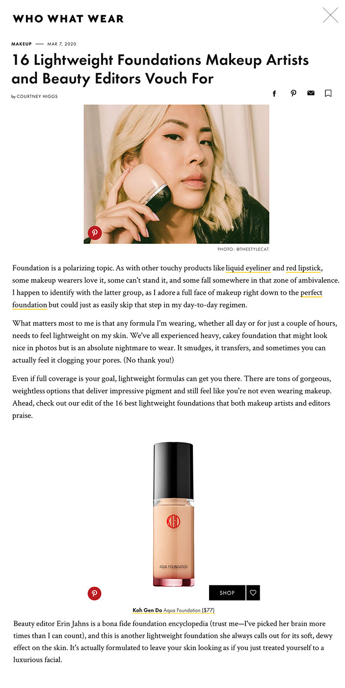 16 Lightweight Foundations Makeup Artists and Beauty Editors Vouch For The Best Lightweight FoundationsPinterest PHOTO: @THESTYLECAT Foundation is a polarizing topic. As with other touchy products like liquid eyeliner and red lipstick, some makeup wearers love it, some can't stand it, and some fall somewhere in that zone of ambivalence. I happen to identify with the latter group, as I adore a full face of makeup right down to the perfect foundation but could just as easily skip that step in my day-to-day regimen.  What matters most to me is that any formula I'm wearing, whether all day or for just a couple of hours, needs to feel lightweight on my skin. We've all experienced heavy, cakey foundation that might look nice in photos but is an absolute nightmare to wear. It smudges, it transfers, and sometimes you can actually feel it clogging your pores. (No thank you!)   Even if full coverage is your goal, lightweight formulas can get you there. There are tons of gorgeous, weightless options that deliver impressive pigment and still feel like you're not even wearing makeup. Ahead, check out our edit of the 16 best lightweight foundations that both makeup artists and editors praise. Beauty editor Erin Jahns is a bona fide foundation encyclopedia (trust me—I've picked her brain more times than I can count), and this is another lightweight foundation she always calls out for its soft, dewy effect on the skin. It's actually formulated to leave your skin looking as if you just treated yourself to a luxurious facial.