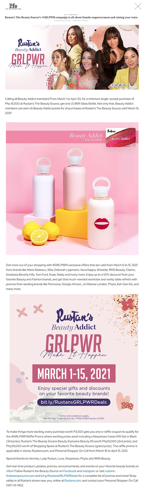 """Rustan's The Beauty Source's #GRLPWR campaign is all about female empowerment and raising your voice PUBLISHED MAR 12, 2021 2:10 AM UPDATED MAR 12, 2021 4:28 AM  BrandedUp in partnership with  Every day is worthy of a celebration, but this month is even more special as we celebrate International Women's Month!   Following last year's success of the first-ever Rustan's Beauty Addict #GRLPWR event, this 2021, Rustan's presents #GRLPWR: Make It Happen, a live beauty event dedicated to inspire and honor women, featuring panelists Nikki Huang (writer and student), Janina Manipol (film director, entrepreneur, and content creator), Joey Mead-King (multimedia host, PAWS advocate, and holistic meditative enthusiast), and Pinky Webb (journalist, CNN Philippines Senior Anchor and correspondent). During the event, these amazing women talked about their careers, passions, advocacies, and everything in between.    Hosted by Marie Lozano, this year's online event was held last March 5, 4 pm via Rustan's The Beauty Source Facebook Page. Each guest was asked to share about their personal challenges during the pandemic, personal style, beauty routines, advocacies, advice to their fellow women to get through our current situation, and more. Scroll further to see some of their inspiring words:  Janina Manipol on how to boost your productivity at home    """"What I do to be able to be productive at home is I spruce up my workstation. If you're just at home, it's important to have a defined work schedule for the day, write your task, have a goal list, and have a positive attitude always—that's me, I always want to be positive and happy.   Most importantly, be creative and don't let your confined circumstances hinder you from your productivity. For me, your greatest power is your perspective.""""  On coping with our current situation and how others can curb their worries to something positive  """"I usually just keep myself busy. I like learning new things, so I invest a lot of time in my growth. """