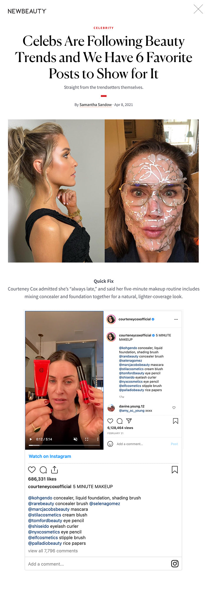 """Celebs Are Following Beauty Trends and We Have 6 Favorite Posts to Show for It Straight from the trendsetters themselves. By Samantha Sandow · Apr 8, 2021 Celebs Are Following Beauty Trends and We Have 6 Favorite Posts to Show for It featured image INSTAGRAM: RIAWNA; INSTAGRAM: BROOKESHIELDS This article first appeared in the Spring 2021 issue of New Beauty. Click here to subscribe As one season rolls into the next, the trends keep changing, and A-listers aren't immune from following the fads.    Strand Swap Prepping their locks for the highly anticipated spring season, Hilary Duff opted for a mermaid-blue hue using pregnancy-safe dye, while Kristin Cavallari rocked a chic, yet simple face-framing pony courtesy of celebrity stylist Riawna Capri.   Advertisement  Launch Pad Jada Pinkett Smith announced the launch of her sustainable and vegan personal-care line, Hey Humans, a current Target exclusive. Our favorite part? Everything in the line is less than $6.   Wellness Queen Brooke Shields has been doing much more than applying face masks during quarantine. As she exclusively told us, her routine also consists of celery juice and defending her beauty products from her daughters.  It's Personal At NewBeauty, we get the most trusted information from the beauty authority delivered right to your inbox   Advertisement  Cup Holder Busy Philipps shared a post-cupping picture from her bathroom. The ancient Chinese therapy is one of her favorite wellness solutions for when things are feeling out of whack.   Quick Fix Courteney Cox admitted she's """"always late,"""" and said her five-minute makeup routine includes mixing concealer and foundation together for a natural, lighter-coverage look.   Advertisement FIND A DOCTOR Find a NewBeauty """"Top Beauty Doctor"""" Near you  Select a state State Select a state Specialty Select a state Treatment SEARCH CELEBRITY NEW BEAUTY Facebook Email Twitter READ MORE  ANTI-AGING The $12 Concealer and A"""