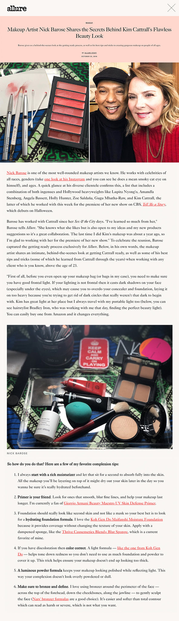 """""""Makeup Artist Nick Barose Shares the Secrets Behind Kim Cattrall's Flawless Beauty Look"""""""