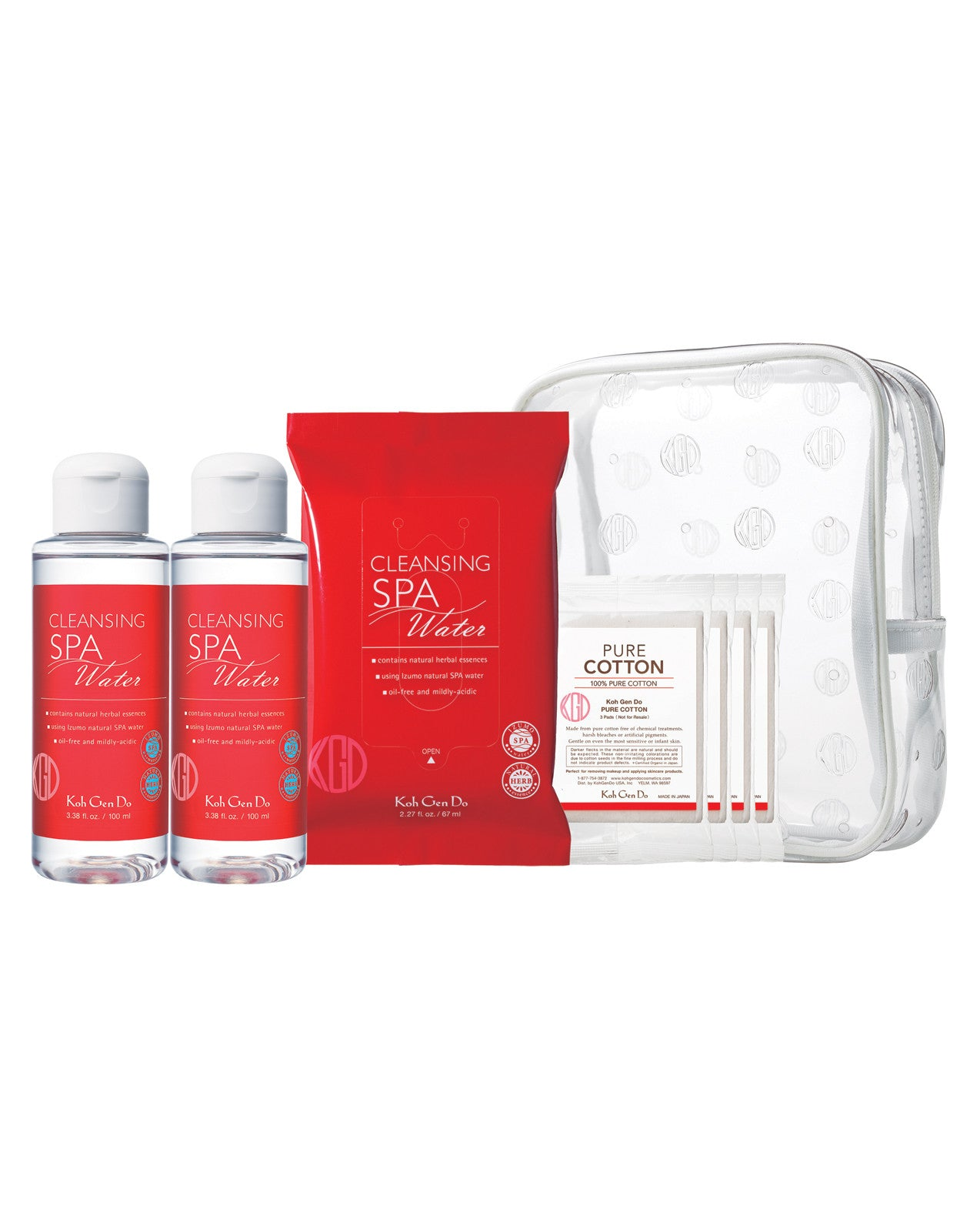 A travel size Cleansing Water set featuring two convenient methods to remove makeup and grime.