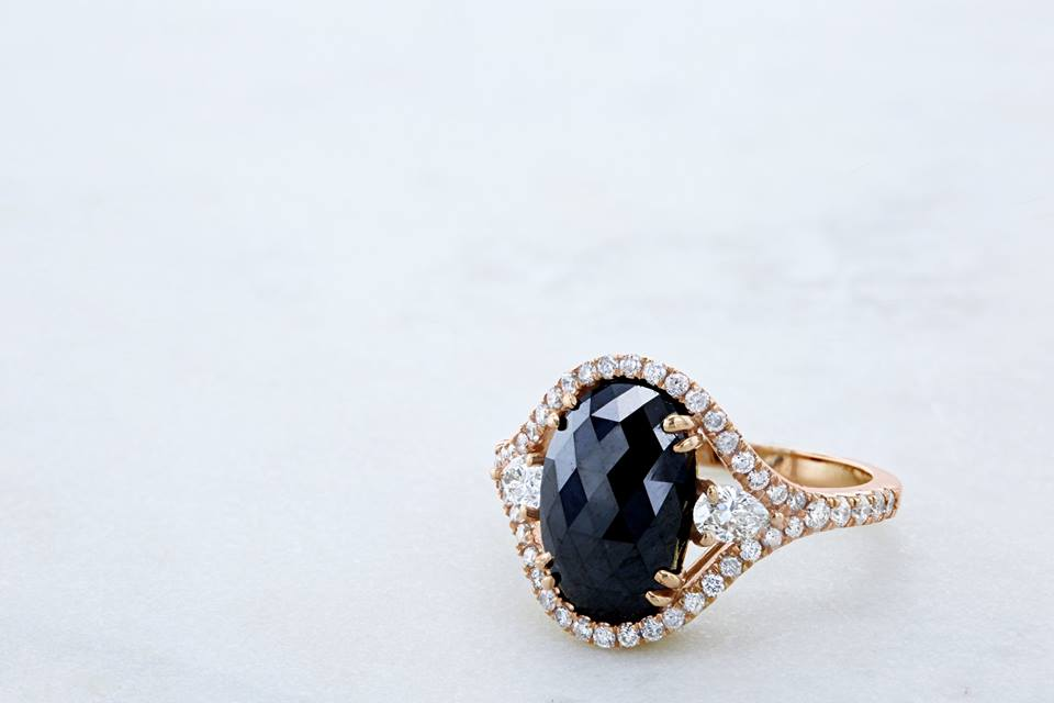 Oval Cocktail Ring with Black and White Diamonds in 18K Rose Gold