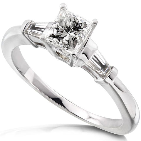 Asscher-Cut Diamond 3-Stone Engagement Ring in 14K White Gold