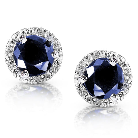 Blue Sapphire and Diamond Halo Earrings in 14k White Gold