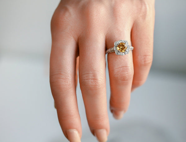 Citrine Floral Vintage Engagement Ring in 14K White Gold