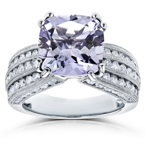Cushion Lavender Amethyst and Diamond Multi-Row Ring
