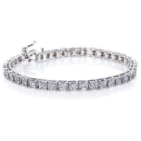 diamond square tennis bracelet in white gold