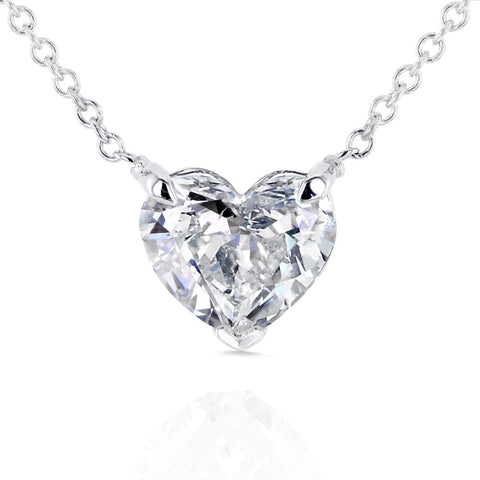 Floating Heart-Shaped Diamond Necklace
