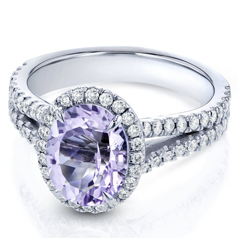 Oval Lavender Amethyst and Diamond Halo Split-Shank Ring