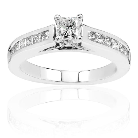 Princess Diamond Channel Engagement Ring in 14K White Gold