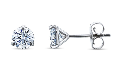 round lab grown diamond stud earrings in white gold