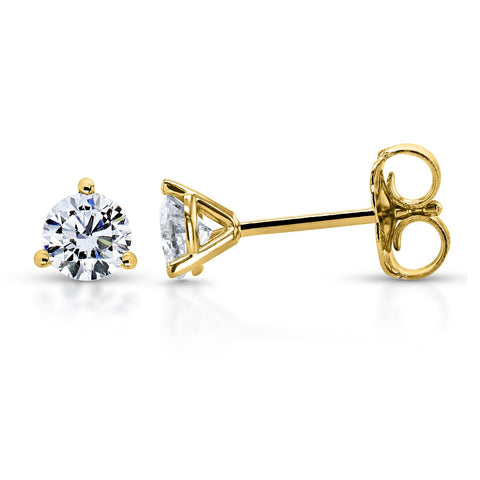 Round Lab Grown Diamond Stud Earrings in 14K Yellow Gold