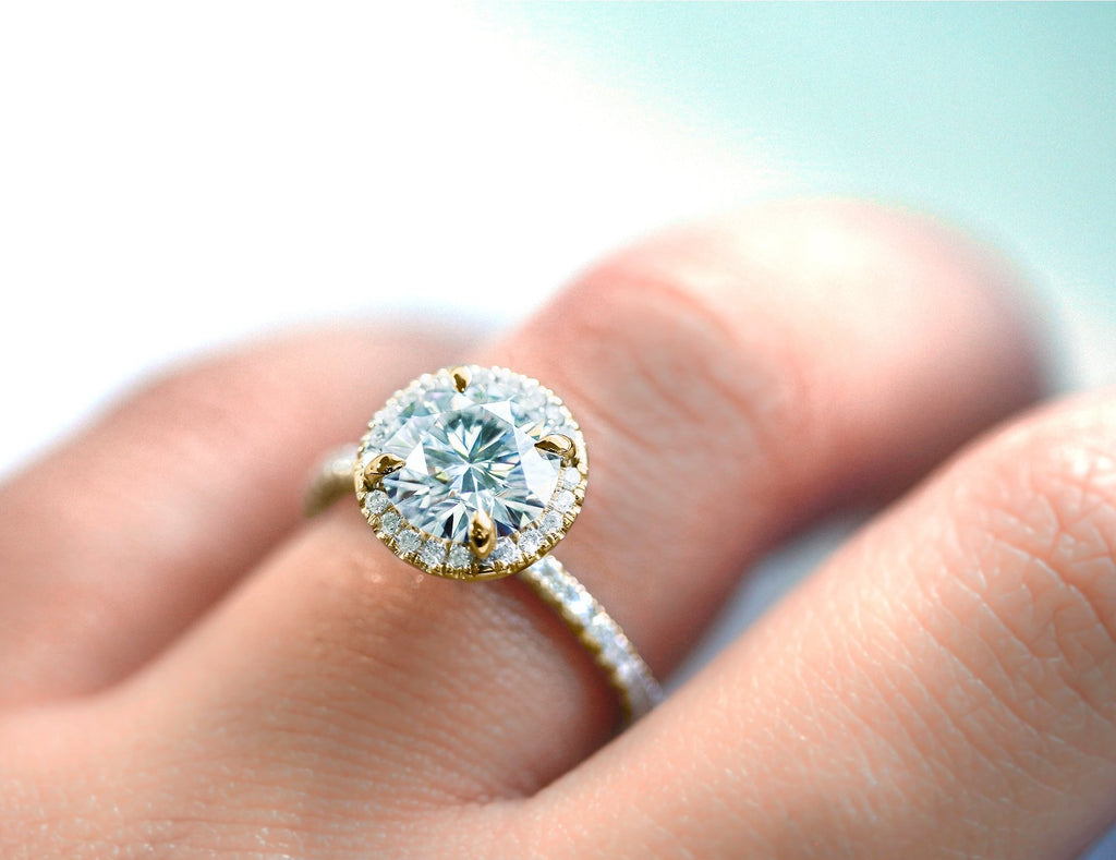 Round Moissanite and Diamond Floating Halo Engagement Ring