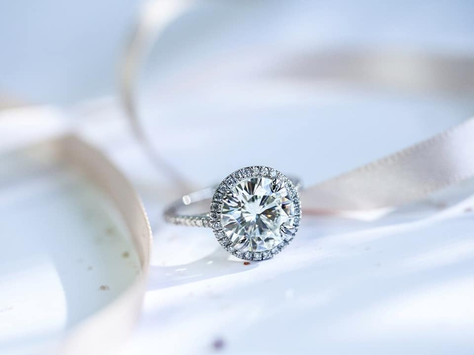 Round Moissanite and Lab Grown Diamond Halo Engagement Ring