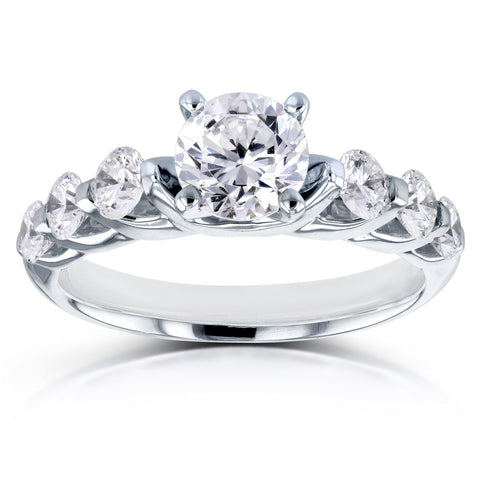 Seven-Stone Round Diamond Engagement Ring in 14K White Gold