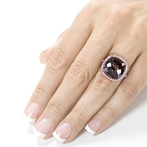 Hand with Robust Smoky Quartz and Diamond Cocktail Ring in Rose Gold