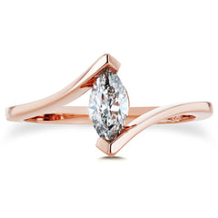 marquise diamond solitaire ring in rose gold