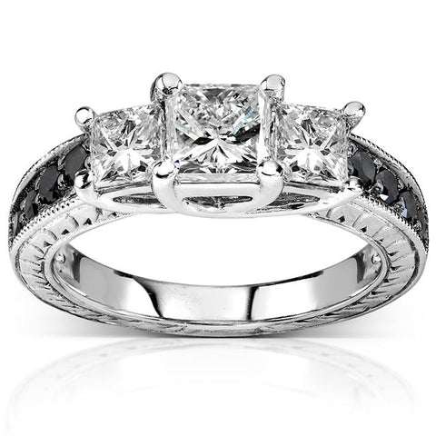 Three-Stone Black and White Diamond Engagement Ring in 14K White Gold