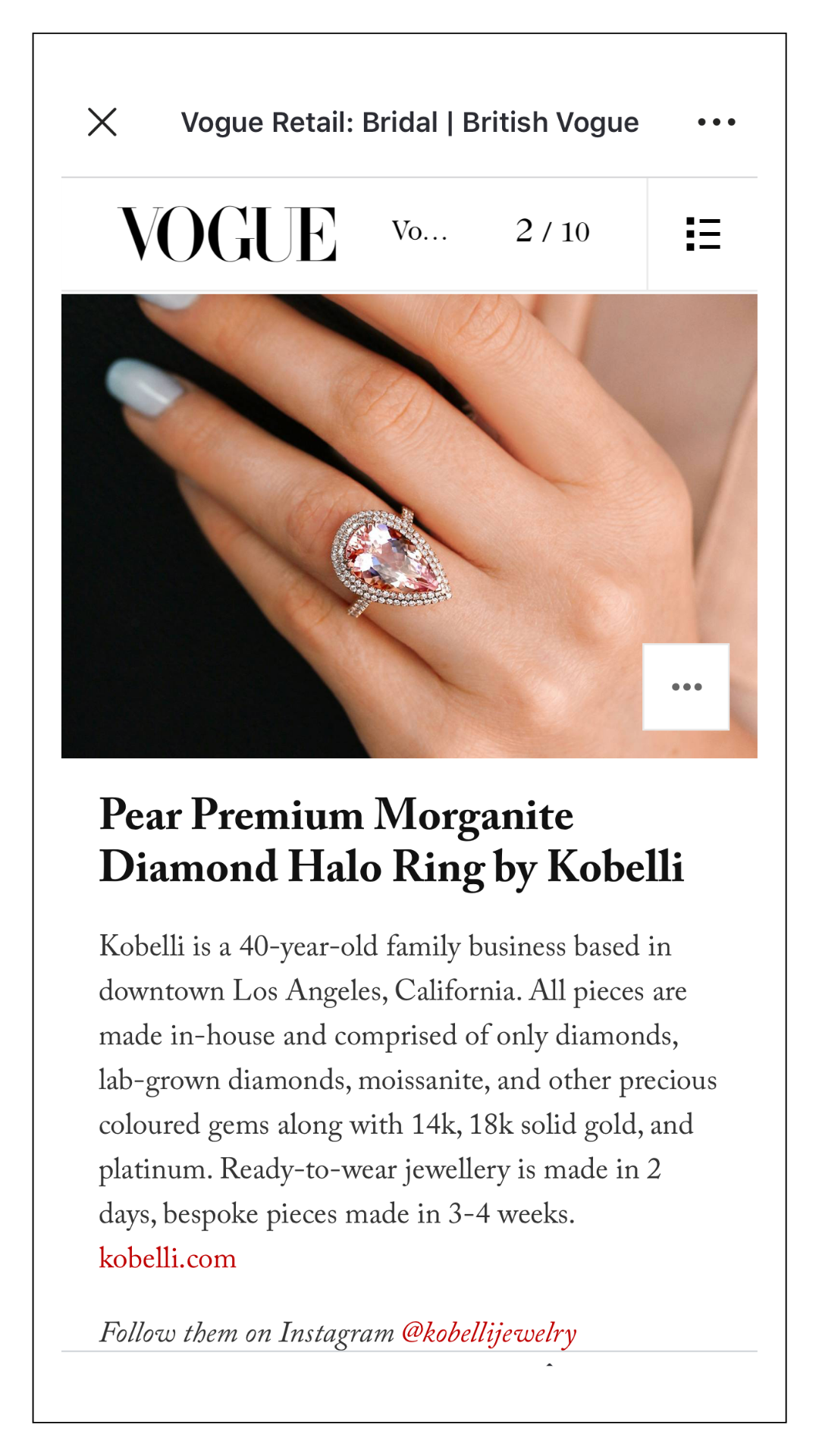 Vogue Digital Kobelli Pear Morganite