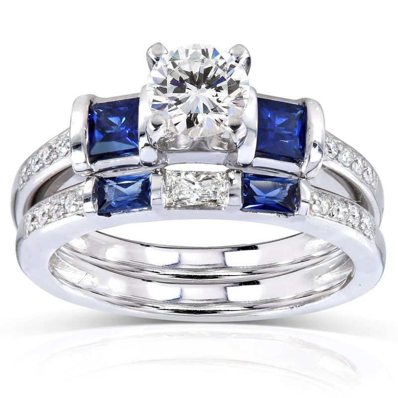 Forever One Moissanite with Sapphire & Diamond Bridal Set 2 1/4 CTW 14k White Gold