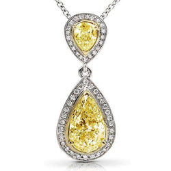 Kobelli Fancy Yellow Diamond Pendant 1 7/8ct.tw in 18k Gold (Certified) 14052X