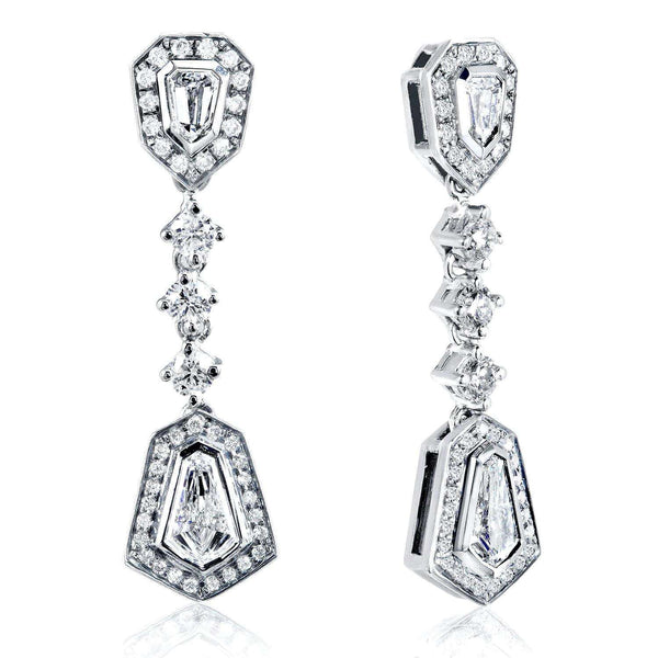 Kobelli Bullet Cut Diamond Dangle Earrings 1 1/2ct.tw 14k White Gold 14073X