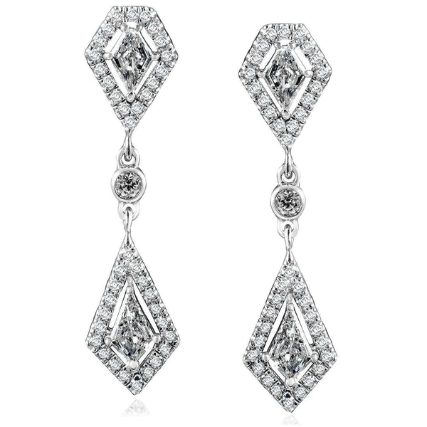 Kobelli Kite Cut Diamond Dangle Earrings 1 1/10ct.tw 14k White Gold 14086X