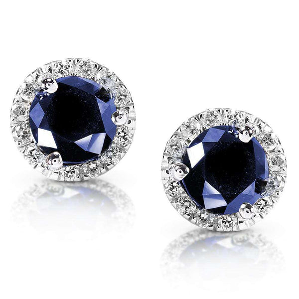 Kobelli Blue Sapphire Diamond Halo Earrings 1 1/2ct.tw in 14k White Gold 14098RBS-100