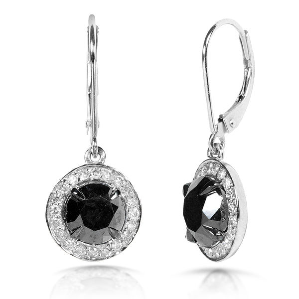 Black and White Round Diamond Earrings 2 7/8ct.tw 14k White Gold (Certified)