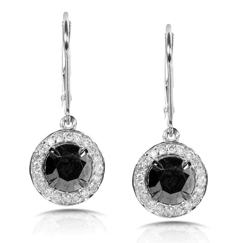 round black and white diamond earrings