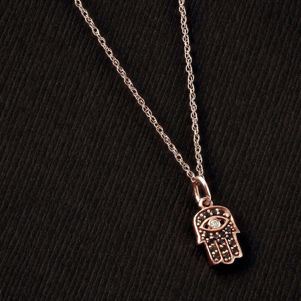 Kobelli Black and White Diamond Hamsa Pendant 1/10ct.tw in 14k Rose Gold 14101BLK-R