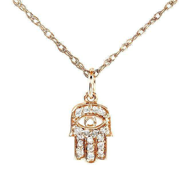 "Kobelli Mini Diamond Accented Hamsa ""Hand of God"" Pendant & Chain in 14K Gold 14101DM_RG"